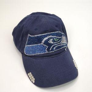 Seattle Seahawks Navy Blue Embellished Hat Cap